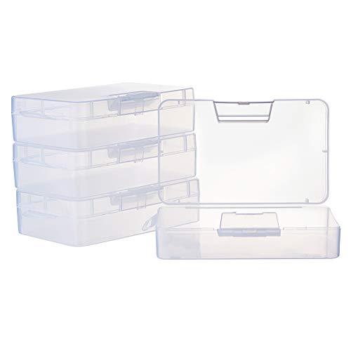 BENECREAT 4 Pack 16x9x4cm Großer durchsichtiger Kunststoffbehälter Durchsichtiger Aufbewahrungsbehälter mit Klappdeckel für kleine Bastelzubehör-Bürobedarfsklammern
