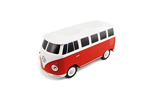 BRISA VW Collection - Volkswagen T1 Bulli Bus tragbarer, portabler Bluetooth-Lautsprecher, Wireless/kabellos mit toller Sound-Qualität & einzigartigem Design (Maßstab: 1:20 I Rot/Weiß)