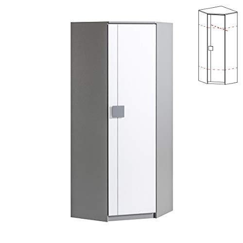 Furniture24 Eckkleiderschrank Gumi G7 Eckschrank mit Kleiderstange und 2 Einlegeboden, 1 Türiger Drehtürenschrank für Jugendzimmer (Anthrazite/Brillant Weiß)