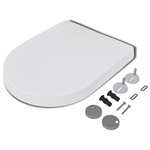 yorten WC-Sitz Toilettendeckel Toilettensitz mit Absenkautomatik und Quickrelase-Funktion Eckig-Form Weißer 46 x 36,5 cm (L x B)