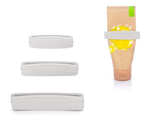 MyGadget Set di 3 Schiacciatubetti per Spremere Tubetto Dentifricio/Crema/Maionese/Acrilici - Strizza Tubetti Anti Spreco Taglia S M L - Bianco