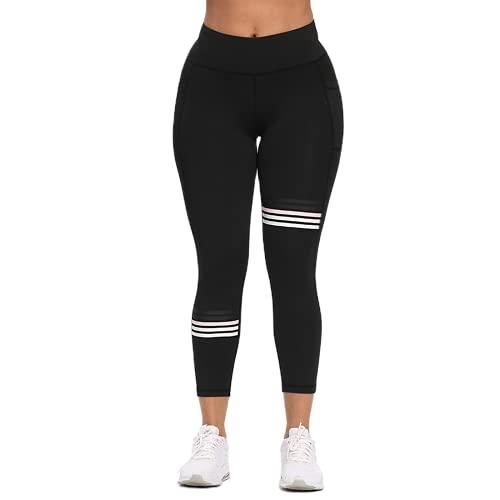 QTJY Pantalones de Yoga para Correr, Pantalones Deportivos de Moda para Mujer, Mallas de Gimnasio a Rayas, Medias de Fitness, Esculpir el Cuerpo, Pantalones elásticos de Celulitis BL