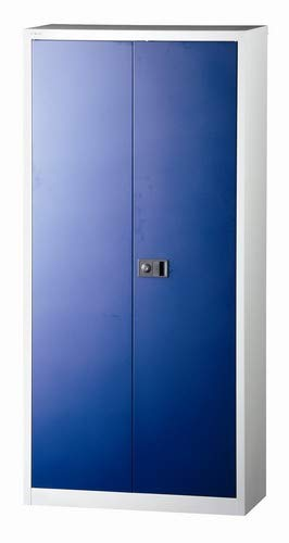 BISLEY Flügeltürenschrank Universal, 4 Fachböden, 5 OH, Stahl, 505 Korpus Lichtgrau, Fronten Oxfordblau, 40 x 91.4 x 195 cm