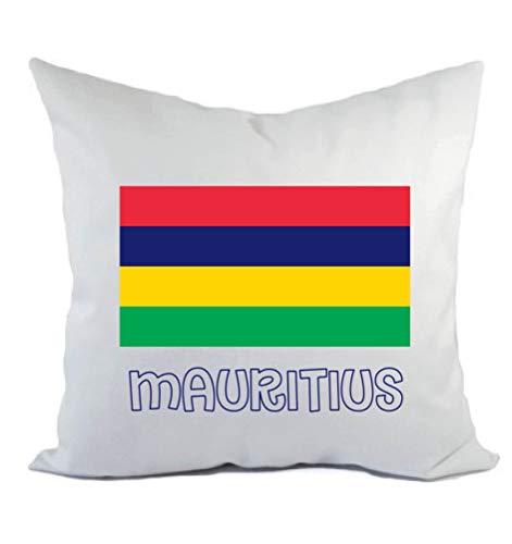 Typolitografie Ghisleri kussen wit Mauritius met vlag kussensloop en vulling 40 x 40 cm van polyester