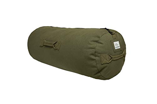 HOPLITE Heavy Duty Military Canvas Duffel Bag, Military & Army Cargo Style, All Purpose Tactical Outdoor Bag Duffle bag with Side Zipper For Outdoors, Travel, & Storage (Olive, Standard 21' x 36')