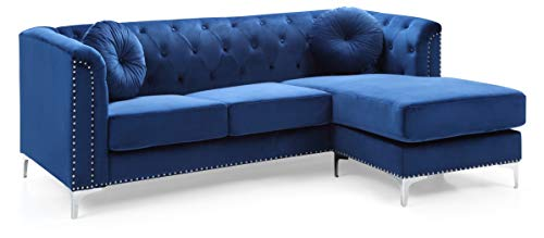 Glory Furniture Pompano Sofa Sectional, Navy Blue. Living Room Furniture, 31' H x 70' W x 58' D
