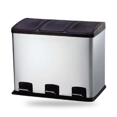 HAC24 3fach Edelstahl Mülleimer 36l Küche Silber Abfalleimer Mülltrennung Trenn Abfallsammler Müllsammler Müllbehälter Mülltrenner
