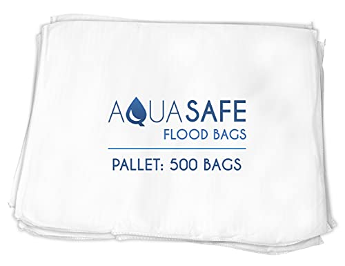 """AquaSafe Flood Bags, Water Absorbent Flood Barrier and Super Absorbant Pad, 16"""" x 22"""", Pallet - 500 Bags"""