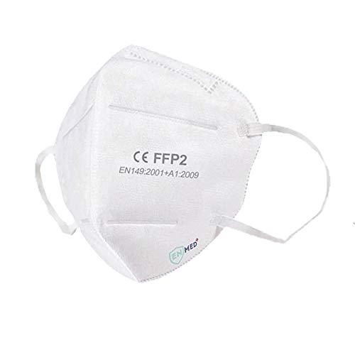 FFP2 Maske CE Zertifiziert EU Norm 10X Einzelverpackung Premium Atemschutzmaske 5-Lagig Mund Nasen Schutz hohe Filtration Halbmasken gegen Partikel CE2163 - EU 2016/425
