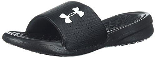 Under Armour Boys' Playmaker Fixed Strap Slide Sandal, Black (001)/White, 3