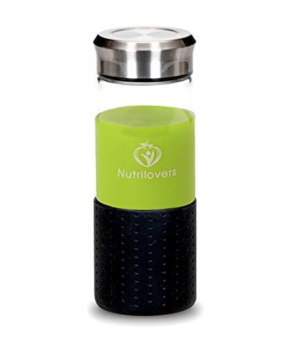 Nutrilovers NUTRI-Bottle Ice Gefrierfeste Slow Juice Glasflasche (BPA-Frei) - Trinkflasche aus Borosilikatglas, 450 ml