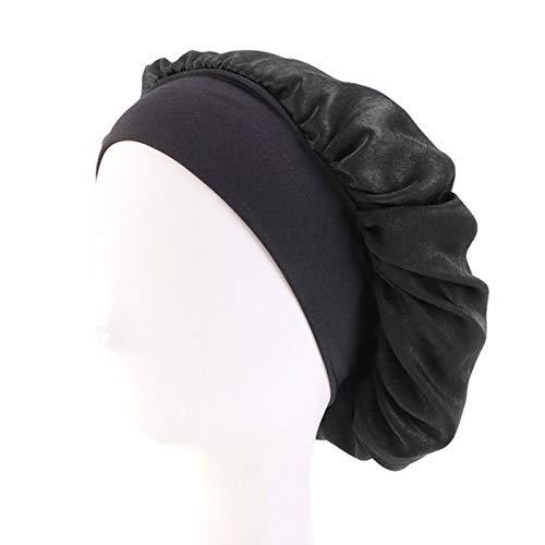 Satijnen Mutsen voor Dames Zwart Brede Elastische Band Bloemenprint Zijdeachtige Headwrap Dames Haar Cover Hoed Nacht Slaapmuts