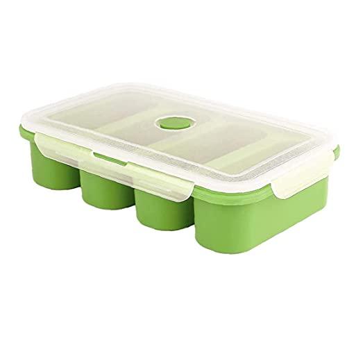 Hainice Contenitori di zuppa di Silicone Silicone zuppa di Silicone Cubo del Cibo Contenitore di congelamento Stampi con Coperchio 4 Cubi per Salsa di zuppa Pasto Verde