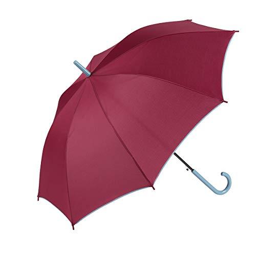 GOTTA Paraguas Largo de Mujer, antiviento y automático con puño Curvo. Tejido Liso (Granate)