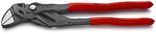 KNIPEX 86 01 250 Zangenschlüssel Zange und Schraubenschlüssel in einem Werkzeug grau atramentiert mit rutschhemmendem Kunststoff überzogen 250 mm