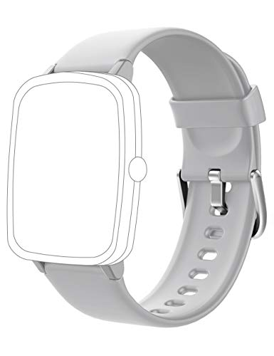 Soft Silicone Smart Watch Bands Replacement Straps Bands for YAMAY SW021 SW023 ID205L ID205U ID205S Smart Watch (Gray)