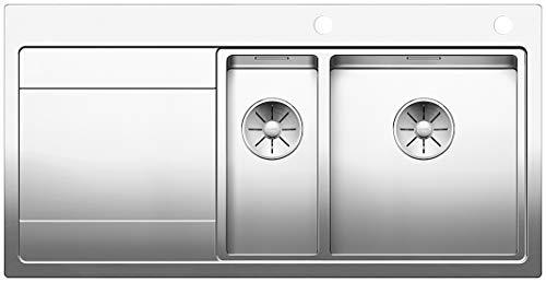 BLANCO DIVON II 6 S-IF, Küchenspüle für normalen und flächenbündigen Einbau, Einbauspüle, Becken rechts, mit InFino-Ablaufsystem und Ablauffernbedienung, Edelstahl Seidenglanz; 521662
