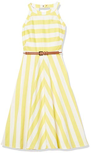 Eliza J Women's Striped Fit and Flare Halter Dress, Yellow, 14 Petite