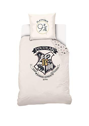 Juego de Cama de Harry Potter con Funda de edredón y Funda de Almohada de algodón, Color Crudo, 140 x 200 cm