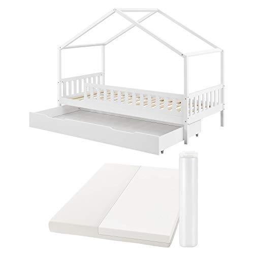Juskys Kinderbett Yuki 90x200 cm - Komplett Set mit Matratze, Rausfallschutz, Bettkasten & Lattenrost – Holz Bett für Kinder – Hausbett Jungen & Mädchen