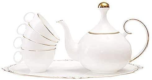 FGDSA Ceramic Kettle Ceramic Teapot Set Simple European Coffee Cup Set Small Luxury Ceramic Cup English Afternoon Tea Tea Set Coffee Set High-End Gift Box 1050Ml -Piece Set
