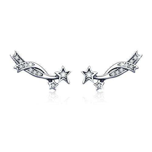 Pendientes de plata de ley 925 con diseño de estrellas antiguas para mujeres, adolescentes, niñas
