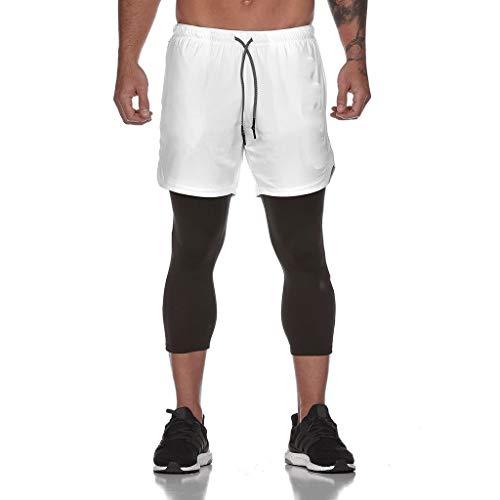 2020 Nouveau Leggings Court Homme Sport,ITISME Compression Collant Homme Pantalon Court De Sport Fitness Running Musculation Respirant en Coton Longs Jogging Base Cyclisme Course Poche intérieure