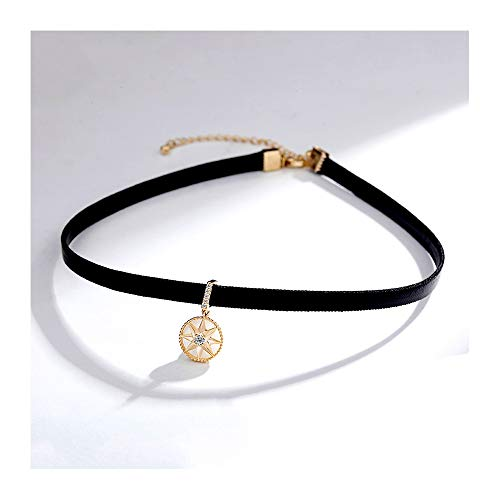 Brooches TAO Necklace Female Leather Rope Clavicle Chain Short Neck Jewelry Neckband Black Neck Chain Collar