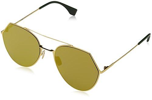 FENDI FF 0194/S 83 001 Gafas de sol, Amarillo (Yellow Gold/Brw Gd Grey Speckled Ar Marl), 55 para Mujer
