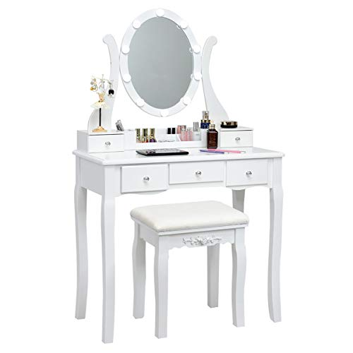 CHARMAID Vanity Table Set with Lighted Mirror, Makeup Dressing Table with 10 LED Lights, Touch Switch, 5 Drawers, Removable Organizer, 10 Dimmable Lights Makeup Table and Cushioned Stool Set (White)