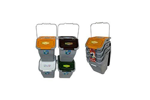 Duplast - Cubo de basura para reciclaje diferenciado, apilable, 4 x 23 litros, cubo de basura para ahorrar espacio