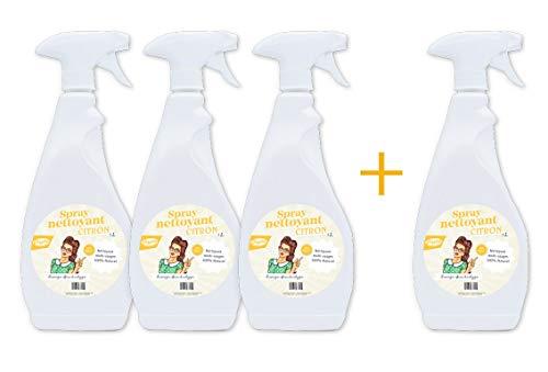 Nettoyants spray Multi-usages toutes surfaces 100% Naturelle - Huile essentielle de citron bio - LOT de 3 + 1 OFFERT !