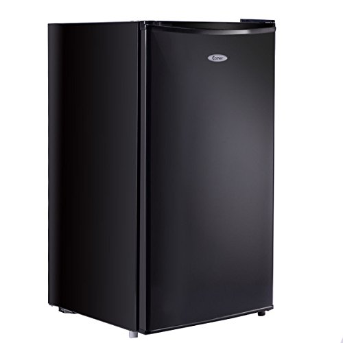 COSTWAY 3.2 Cu. Ft. Refrigerator Single Door Compact Mini Contemporary Classic Fridge Freezer Cooler for Apartment Home Kitchen Hotel Office Dorm Wet Bars with Glass Shelves (Black)