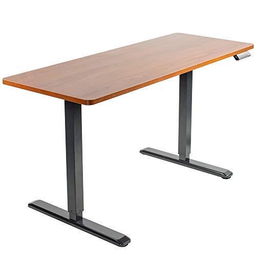 VIVO Electric Height Adjustable 60 x 24 inch Stand Up Desk, Dark Walnut Solid One-Piece Table Top, Black Frame, Standing Workstation with Memory Preset Controller, DESK-KIT-1B6D