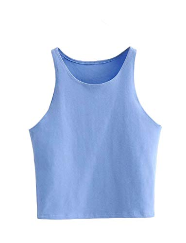 KAMISSY Women Solid Basic Tank Top Sleeveless Crew Neck Crop Top Blue