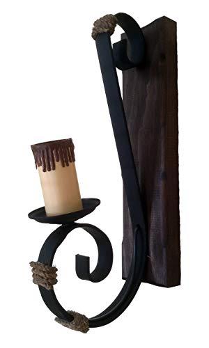 Applique rustique 1 lumière avec forge, bois et corde