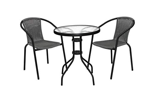 Marko Outdoor 3 & 5 Piece Bistro Set Black Wicker Rattan Woven Chairs with Round Glass Table (3 Piece Set)