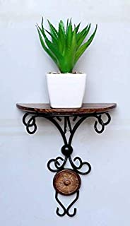 Motorik Handicraft Natural Wood and Iron Wall Hanging Shelf with 1 Rack for Small Trophies, Antique, Flowers, Mobile (Brown)