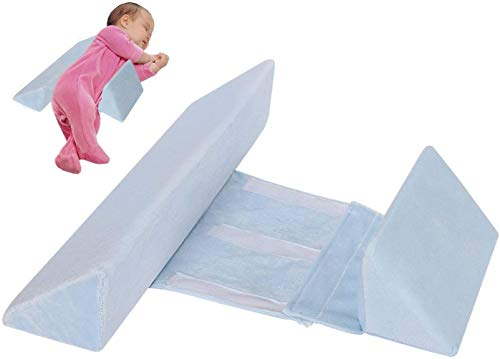 Almohada Ajustable para Dormir en el Lado del Bebé, Cuña de Apoyo para Recién Nacidos, Cojín Antivuelco para Bebés, Almohada de Leche Antiesperma con Cremallera Oculta (Azul)