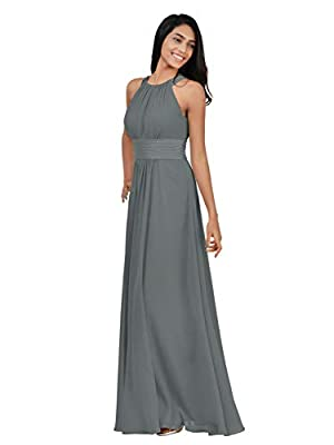 Alicepub Chiffon Bridesmaid Dresses Long for Women Formal Evening Party Prom Gown Halter, Steel Grey, US16