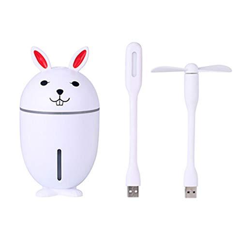 WO Nice 3 in 1 luchtbevochtiger, ultrasone mini-ventilator, LED, tafellamp, 320 ml, hoge capaciteit, USB, olie, aroma-diffuser, oplader voor huis, wit