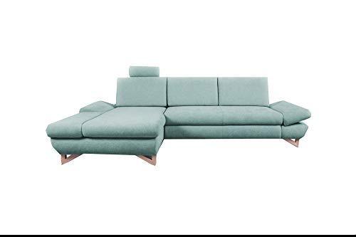 mb-moebel Ecksofa mit Schlaffunktion Eckcouch mit Bettkasten Sofa Couch L-Form Polsterecke Merida (Mintgrün, Ecksofa Links)