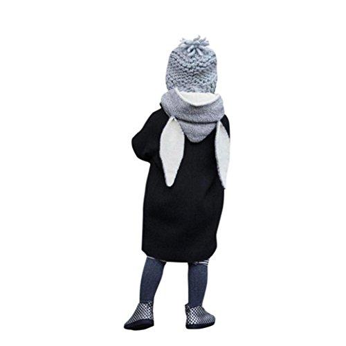 OVERDOSE Nettes Säuglingsherbst Baby Mädchen Jungen Winter mit Kapuze Mantel Kaninchen Kapuze Jacken Starke warme Kleidung(5T,Schwarz)