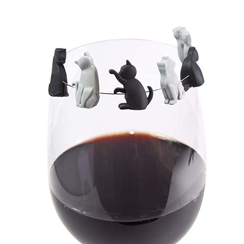 Reconocimiento de copa de vino para gatitos, bolsa de té para colgar, marcadores de copa de vino, identificadores de vidrio reutilizables, gran regalo de cumpleaños o anfitriona para amantes