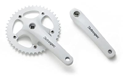 Retrospec Bicycles Fixed-Gear Crank Single-Speed Road Bicycle Forged Crankset, White, 44T