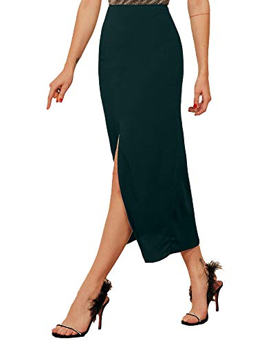 ADDYVERO Ankle Length Center Front Slit Women Skirt (Green, 30)
