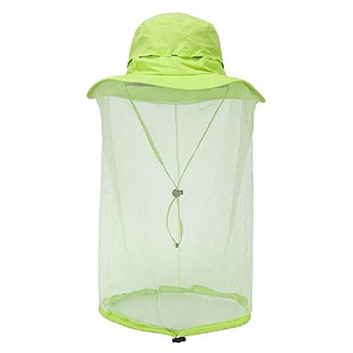 Outdoor 360 Mosquito-Proof Hat Fishing Umbrella Hat Protection with Mosquit Net for Men Women (Green, Medium)