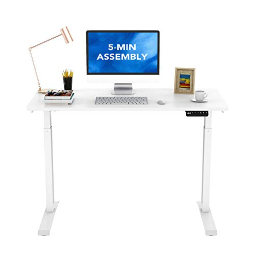 FlexiSpot E9 Standing Desk Adjustable Height Quick Installation with Memory Controller, 48x24, White