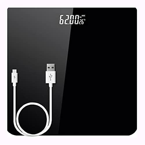JSJJAUJ Corporal Báscula 180kg USB Carga electrónica Escala de Peso hogar Inteligente Inteligente preciso Cuerpo a Escala de Adultos a Escala de Salud pesaje (Color : Black, Load Bearing : 180Kg)