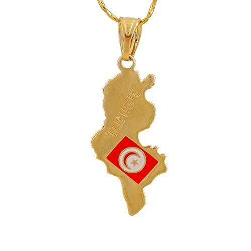 YUANYIRAN Túnez Mapa Pendent Collar - Patriótico Encanto Étnico África Collares De Bandera Tunecina, Oro Clásico Hip Hop Joyería para Mujeres Hombres Fiesta Tendencia Joyería Regalo